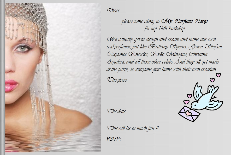 14th Birthday invitation idea for my perfume party, perfume party face, font = vivaldi. Design your own perfume like the celebs, Brittany, Gwen, Kylie, Beyonce.